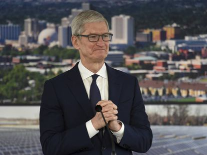 Tim Cook, CEO de Apple, durante una reciente visita a Reno (Nevada).