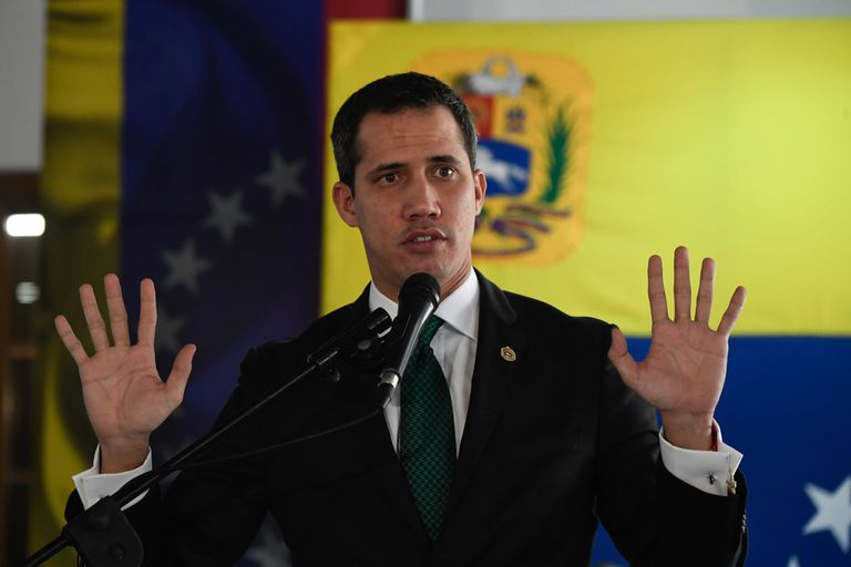 Venezuelan opposition leader Juan Guaido speaks during a press conference in Caracas, on March 9, 2020. (Photo by Federico PARRA / AFP)