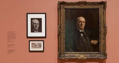 Retrato de Henry James por John Singer Sargent, que atacaron en mayo de 1914. A la izquierda aparece una foto del cuadro antes de su restauración.