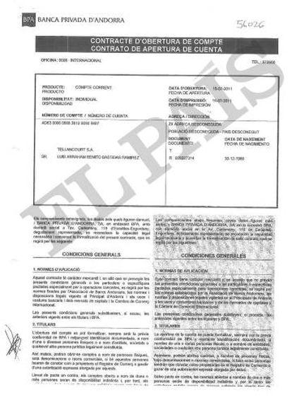 Contrato de apertura de una de las cuentas del exgerente de PDVSA en la Banca Privada d'Andorra (BPA).