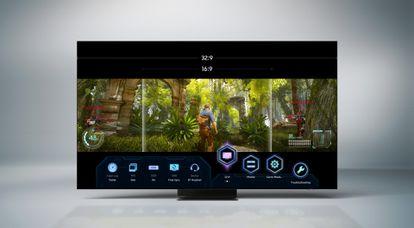 Neo QLED incluye, además del Modo Juego Panorámico, la llamada Barra de juego, un menú que da acceso rápido a todos los mandos y menús.