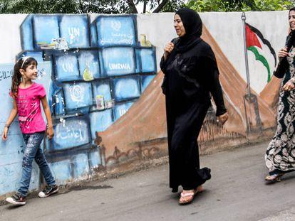 Campo de refugiados palestinos de Burj al-Shamali en Líbano.