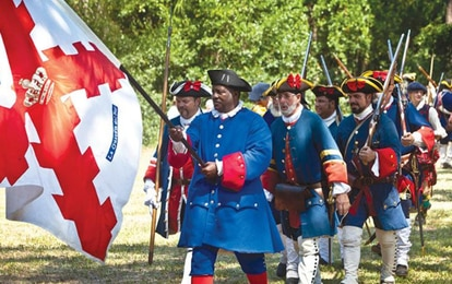 Voluntarios recreando la batalla de Mosé, en Florida.