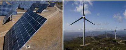 Placas de la mayor central solar del mundo, en el Alentejo, y parque eólico en el Alto Miño.