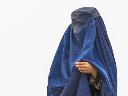 Una mujer con burka, en un campo de refugiados en Kabul, Afganistán, el pasado 15 de agosto.