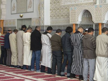Alumnos del curso de retórica árabe para ímanes de la Federación de Entidades Islámicas rezan en la mezquita del municipio valenciano de L'Alcúdia.