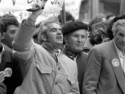Manifestación de agricultores, vinculados a la COAG, en la calle de Bravo Murillo de Madrid, en 1979