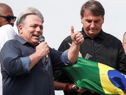 El exministro de Salud, Eduardo Pazuello, habla en un acto acompañando al presidente Bolsonaro, el pasado 24 de mayo.
