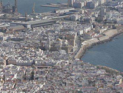 Vista aérea de Cádiz.