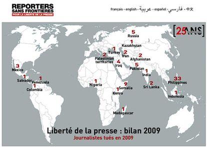 Los fallecidos, en un mapa mundi elaborado por RSF.