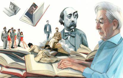 Vargas Llosa, en primer plano, y su mundo literario: los retratos de Leopoldo II y Gauguin (en sendos libros), Flaubert, Roger Casement (sentado sobre el gorro de Trujillo), Madame Bovary y Pantaleón y las visitadoras. De pie, detrás, el escritor de joven.