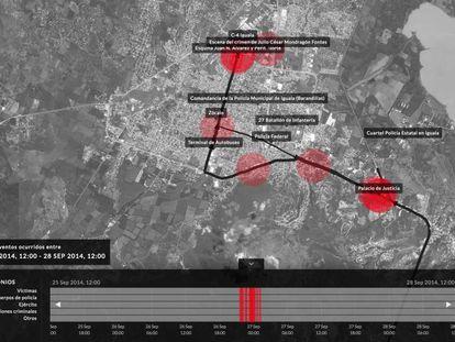Imagen de la plataforma, el mapa y debajo, la línea de tiempo.