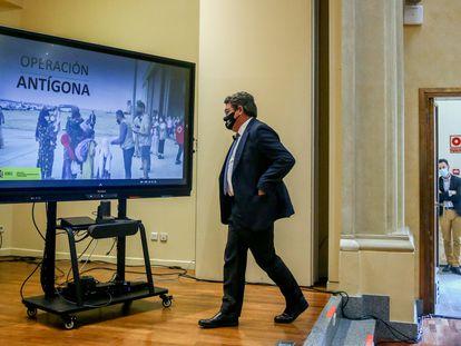 José Luis Escrivá, a su llegada para presentar el balance de Operación Antígona, este jueves en Madrid.
