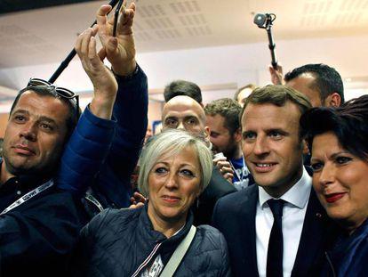 Emmanuel Macron en un congreso de empresarios de la construcción en París.