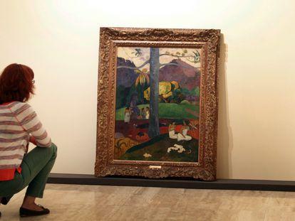 El cuadro 'Mata Mua' durante la exposición de 2012 'Gauguin, viaje a lo exótico' en el museo Thyssen de Madrid.