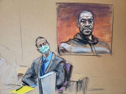 Un dibujo del expolicía Derek Chauvin sentado frente a una imagen de George Floyd durante el juicio, este lunes en Minneapolis.