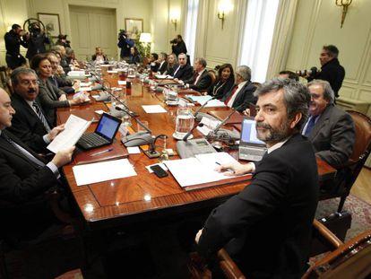 El pleno del Consejo General del Poder Judicial presidido por su presidente, Carlos Lesmes, en 2014.