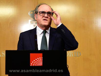El portavoz del PSOE en la Asamblea de Madrid, Ángel Gabilondo, ofrece una rueda de prensa el miércoles.