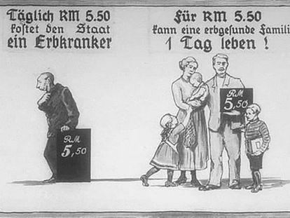 Propaganda nazi que compara el coste de un enfermo con el de una familia sana.