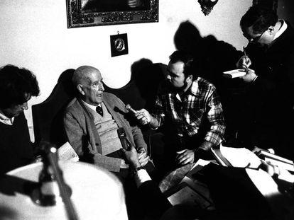 Vicente Aleixandre en 1977, el día en que se le concedió el Premio Nobel.