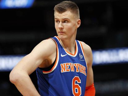 Krisptaps Porzingis con los Knicks.