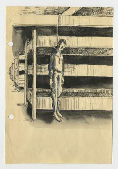 Un dibujo del diario de tres prisioneros polacos del campo de Auschwitz-Birkenau, donado al museo del campo.
