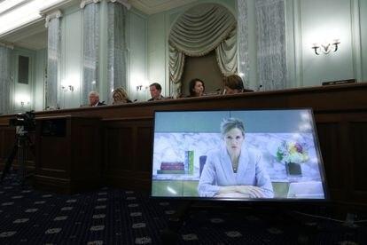 Antigone Davis testificó ante el Comité de Comercio del Senado este jueves.