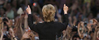 La senadora por Nueva York, en su discurso en Washington en el que ha anunciado su apoyo al candidato demócrata a la presidencia, Barack Obama.
