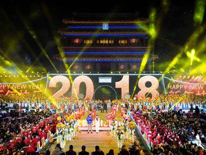 Celebración del año nuevo 2018 en Beijing, China