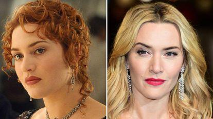 Kate Winslet, en una imagen de 'Titanic' y en 2016.