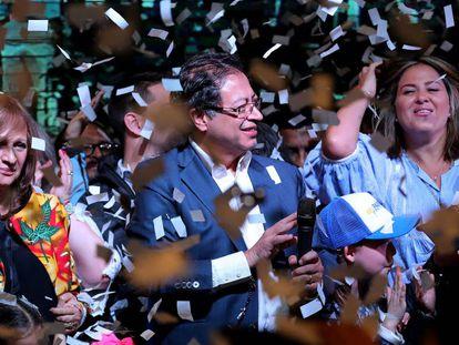 El candidato izquierdista Gustavo Petro durante su discurso tras los resultados electorales el pasado junio.