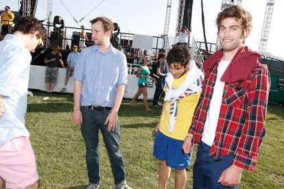 Vampire Weekend pose for the camera during the Coachella festival held in California in April 2008.