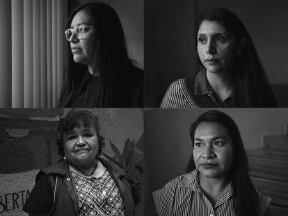 De arriba a abajo y de izquierda a derecha: Norma Jiménez, Italia Méndez, Edith Rosales y Claudia Hernández, víctimas de la violencia ocurrida en San Salvador Atenco, Estado de México.