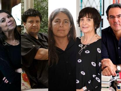 De izquierda a derecha: Carmen Boullosa, Alejandro Zambra, Selva Almada, Rosa Montero y Juan Gabriel Vásquez, finalistas de la IV Bienal de Novela Mario Vargas Llosa.