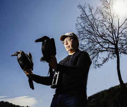 El ornitólogo José Luis Copete sostiene un cuervo en cada mano.