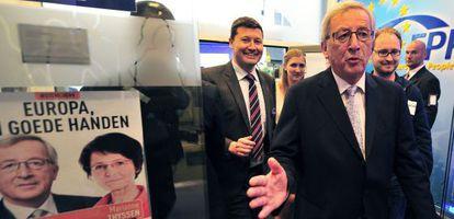 Jean-Claude Juncker, en Bruselas, tras conocer los primeros resultados.