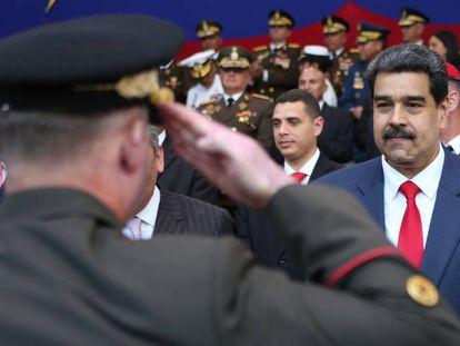 Maduro, encabezando un acto militar en Caracas.