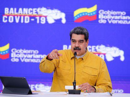 El presidente de Venezuela, Nicolás Maduro, durante una conferencia de prensa en Caracas, el pasado 11 de abril.