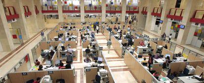 Oficina de la Agencia Tributaria en Madrid, antes del confinamiento.