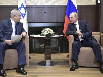 Benjamín Netanyahu durante su reunión con el Vladímir Putin en Sochi.