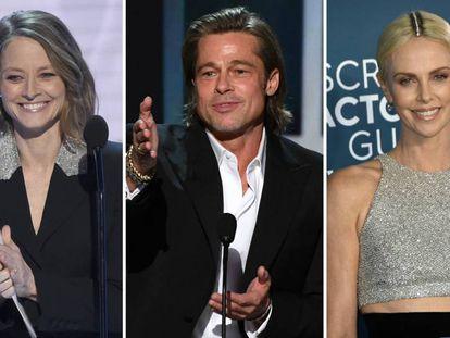 Los actores Jodie Foster, Brad Pitt y Charlize Theron.