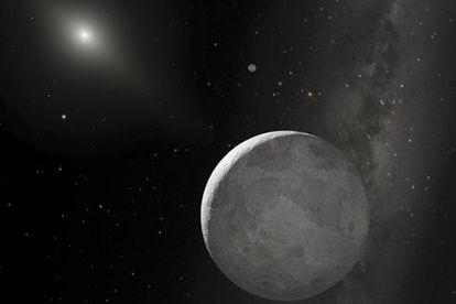 Concepción artística de 2003 UB313, también conocido como Xena, y su pequeña luna, Gabrielle