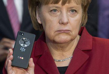 La canciller alemana, Angela Merkel, en la feria de electrónica CeBIT en Hanover, en marzo de 2013.