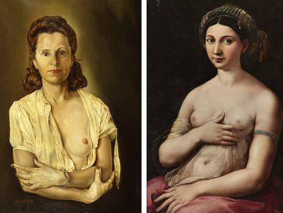 'Galarina' de Dalí (1945) y 'La Fornarina' de Rafael, de 1520.