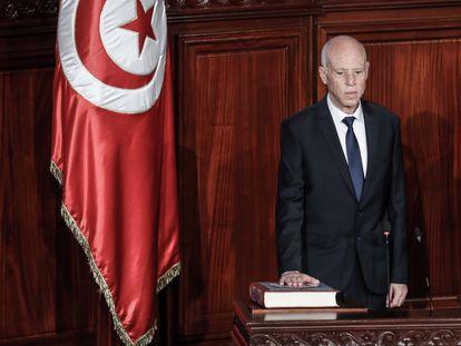 El presidente tunecino, Kais Said, en su juramento en el parlamento en octubre de 2019.
