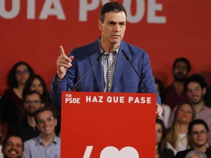 Pedro Sánchez, durante un acto del PSOE en Mallorca. En vídeo, fragmento de la entrevista del presidente en Ondacero.