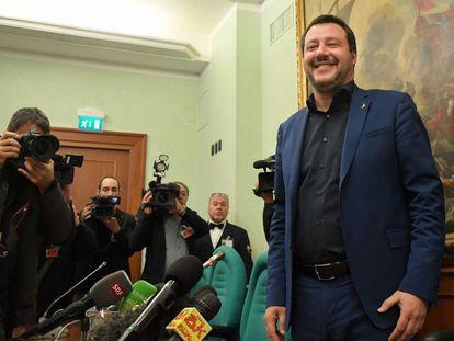 Matteo Salvini, en la rueda de prensa posterior a las elecciones de Abruzzo.