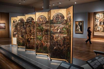 'Pantalla de Estrado (Historia de la conquista de Tenochtitlan)'.  Obrador de los Correa.  1692-96.  Madrid, Colección particular