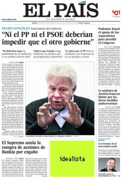 Portada de EL PAÍS del 28 de enero de 2016.