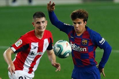 Sancet y Riqui Puig, en el partido entre el Barcelona y el Athletic esta semana en el Camp Nou.